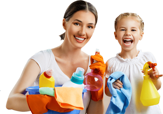 woman and girl cleaning supplies